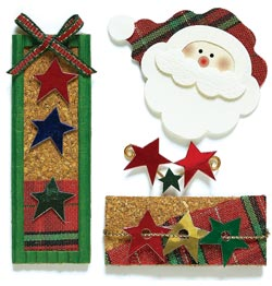 Santa Head With Star Packages Embellishments