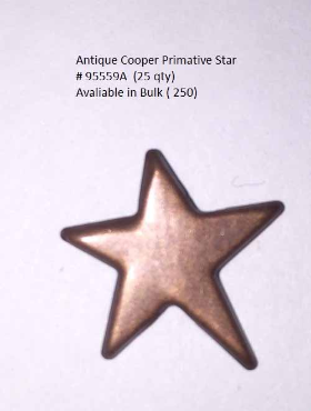 Primitive Star Brads - Antique Copper (25)