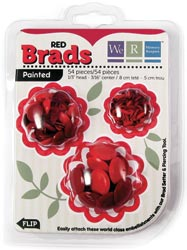 Brad Basics Painted Brads (54) - 3 sizes - Reds