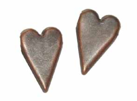 Country Heart Brads - Antique Copper (50)