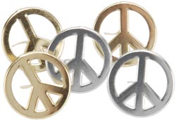 Peace Sign Brads- Silver/Gold