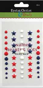 Enamel Stars & Dots - Red/White/Blue