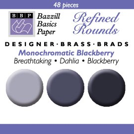 48 Round Mini Brads - Bazzill Blackberry