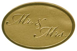 Embossed Foil Seal Stickers - Mr & Mrs Gold