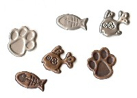 Cat Paw & Fish Bone Brads - Antique (25)