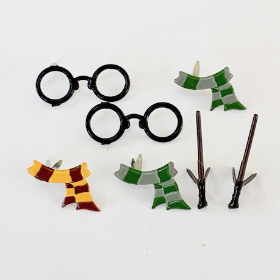 Wizard Scarf, Glasses & Wand Brads