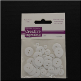 Resin Button Assortment (45 pcs) - White