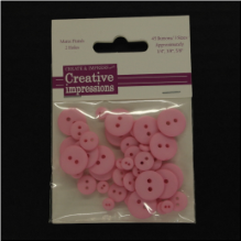 Resin Button Assortment (45 pcs) - Pink