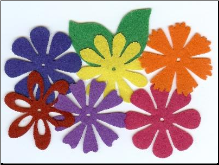Felt Blossoms & Leaves - Large Bright