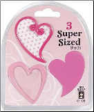 Heart Super Sized Brads - Pink