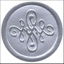 Embossed Foil Seal Stickers - Flourish Silver