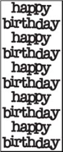 Happy Birthday Cardstock Stickers - Black
