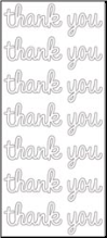 Thank You Cardstock Stickers - White