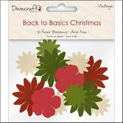 Back To Basics Christmas Blossoms - 30 Paper Flowers - Vintage