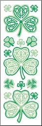 Celtic Knot Shamrocks Rub-ons with glitter