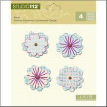 Studio 112 Flower Shaped Brads 4/Pkg - Blue