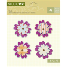Studio 112 Flower Shaped Brads 4/Pkg - Purple