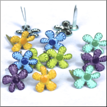 Stitched Bright Flowers Mini Brads