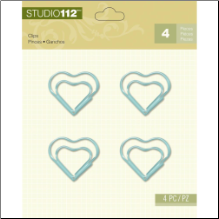 Studio 112 Shaped Clips 4/Pkg - Heart/Blue