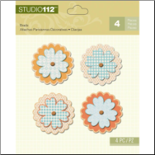 Studio 112 Flower Shaped Brads 4/Pkg - Blue/Orange