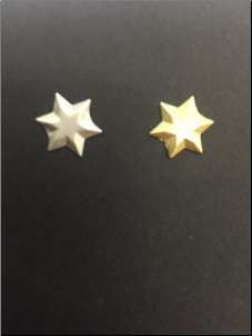 6 Point Star Brads - Brushed Silver & Gold (50)