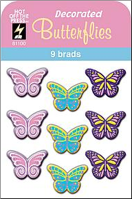 Butterfly Decorated Brads