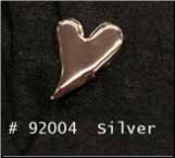 Curved Heart Brads -Silver (50)