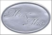 Embossed Foil Seal Stickers - Mr & Mrs Silver
