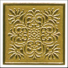 Embossed Foil Seal Stickers - Flourish Square Gold