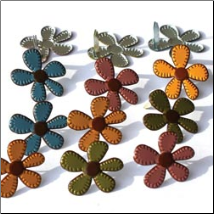 Stitched Fall Flowers Brads