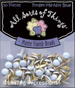 Matte Finish Round Mini Brads - Forget-me-not Blue