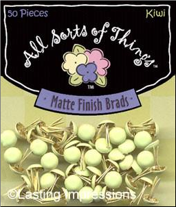 Matte Finish Round Mini Brads - Kiwi