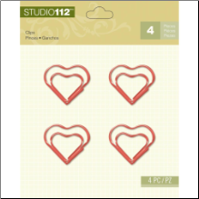 Studio 112 Shaped Clips 4/Pkg - Heart/Red