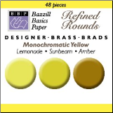 48 Round Mini Brads - Bazzill Yellow
