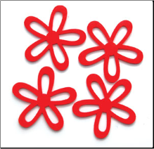 Felt Flowers - Large Red